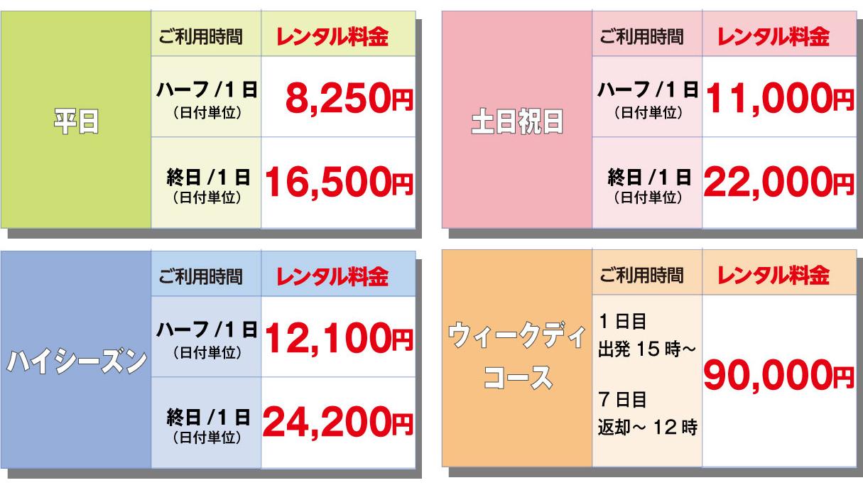 平日ハーフ/1日8,250円・終日16,500円、土日祝日ハーフ/11,000円・終日22,000円 *ハイシーズンは別料金となります。